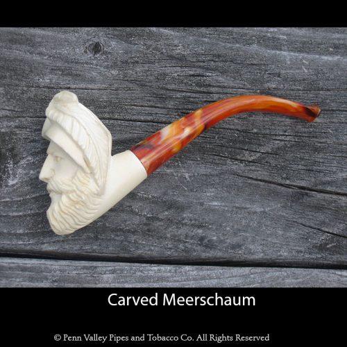 carved bearded man Meerschaum pipe