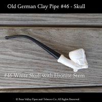 Old German Clay pipe #46 Skull with ebonite stem