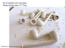 #43 medium size basket design clay pipe at Pipeshoppe.com