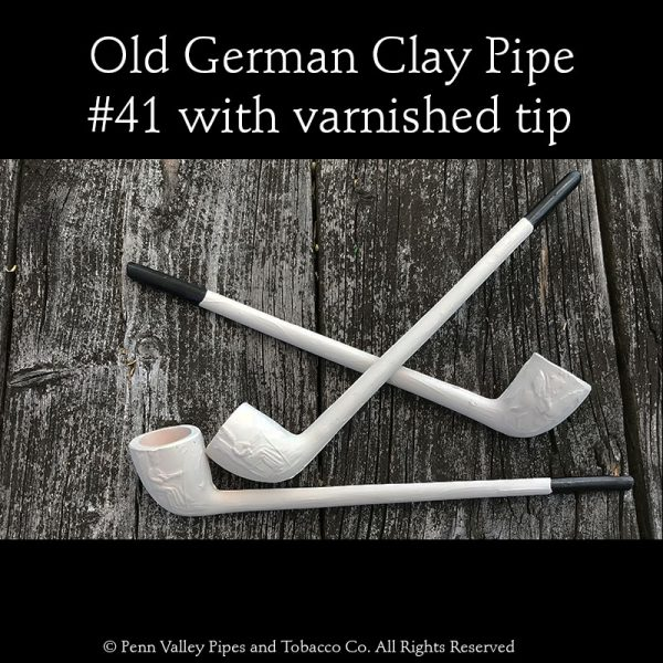 Old German Clay Pipes at Pipeshoppe.,com. #41 in all white or with a black varnished tip.