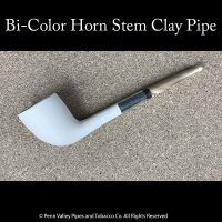 Bi-color horn stem clay tobacco pipe at Pipeshoppe.com