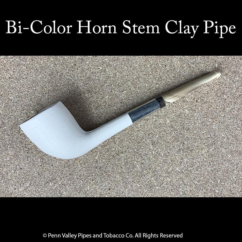 Bi-color horn stem clay tobacco pipe at Pipeshoppe.com